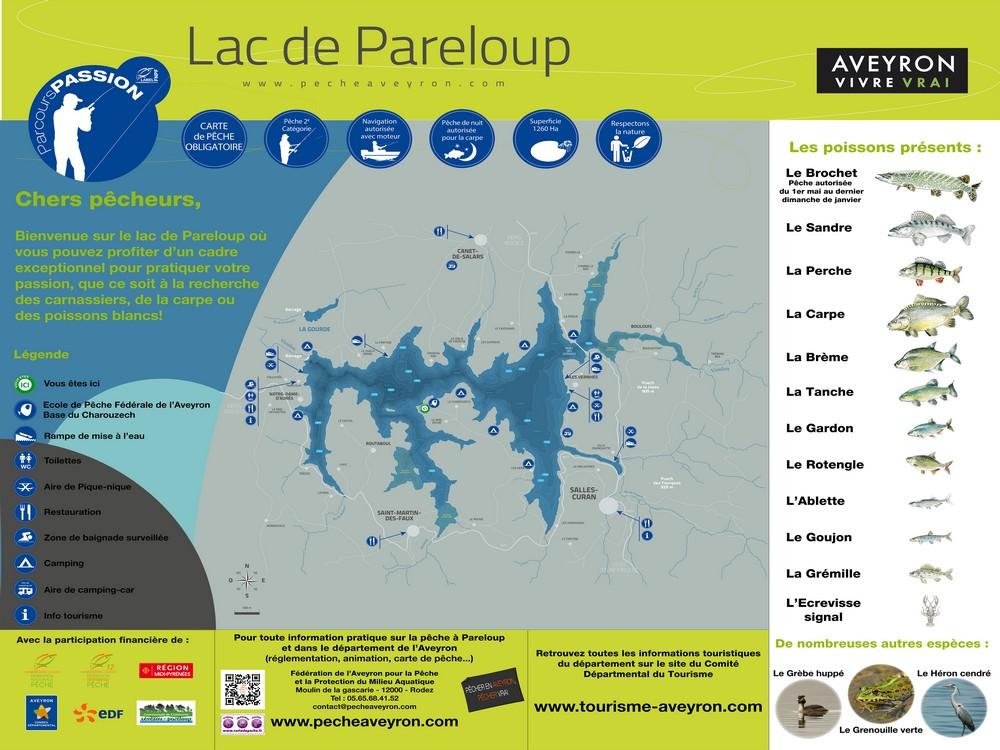 lac de pareloup carte Lac de Pareloup   Aveyron (12)   Geocarp.com
