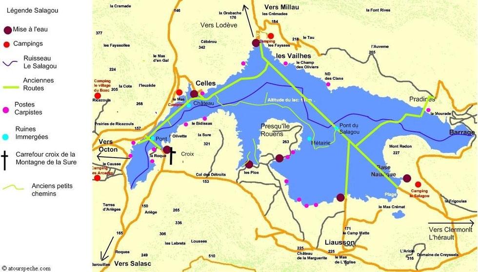 lac du salagou carte Lac du Salagou   Hérault (34)   Geocarp.com