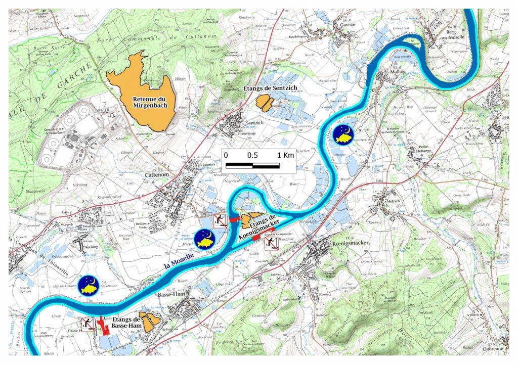 carte de peche moselle La Moselle   Parcours Thionville, Yutz et environs   Moselle (57