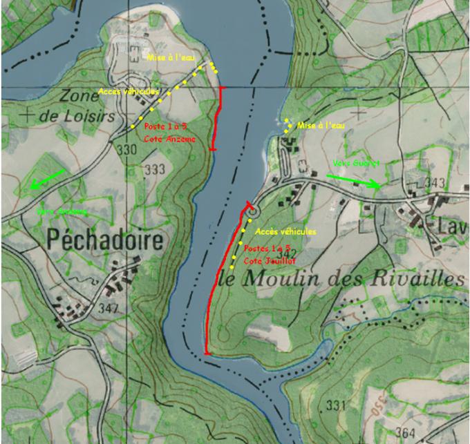 Parcours Pêche carpe de nuit - Lac Champsanglard