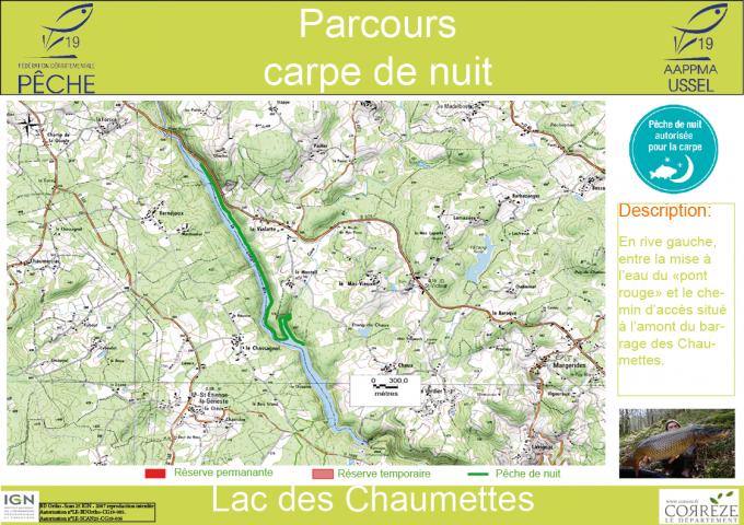 Parcours Carpe de nuit - lac de barrage des Chaumettes