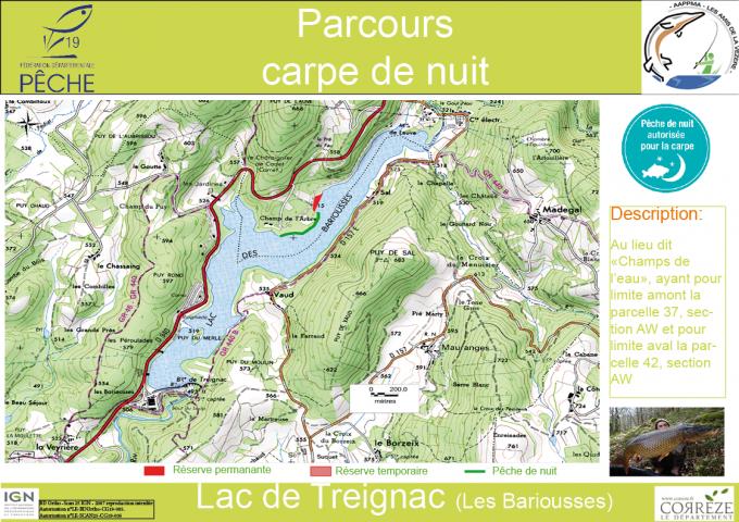 Secteur carpe de nuit - Lac de Barrage de Bariousse